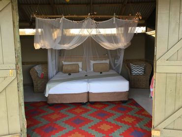 Colourfully decorated and spacious rooms at Gugulisizwe Camp – Night 3 of the Turtle Tracks trail.
