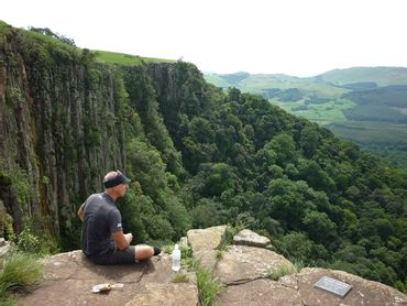 The top of Grey Mares waterfall offers a birds eye view across the Karkloof